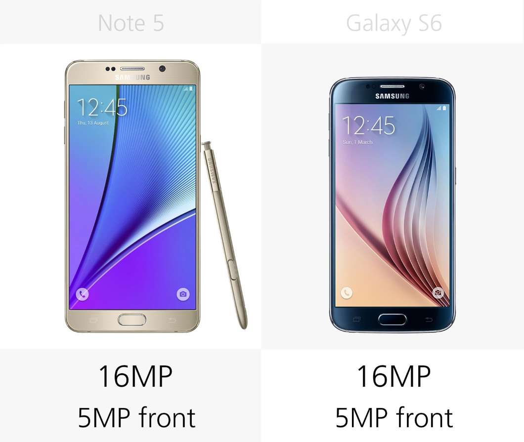 Samsung Galaxy Note 5 против Galaxy S6