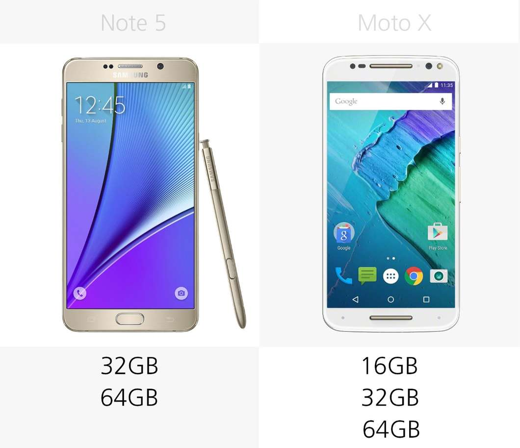Samsung Galaxy Note 5 против Moto X Style 2