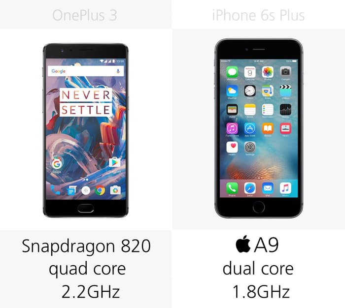 OnePlus 3 против iPhone 6s Plus