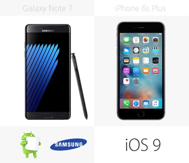 Samsung Galaxy Note 7 против iPhone 6s Plus: Android против iOS 7